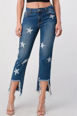 Cropped Cotton Mid-waist Blue Ordinary Jeans  NSJY64549