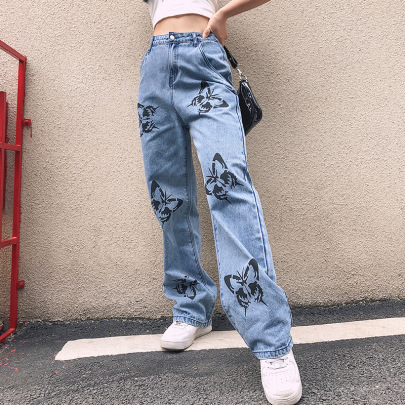 Mid-waist Straight Butterfly Hand-printed Washed Jeans NSJY64550