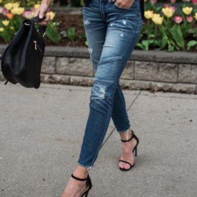 High Waist Fold Stretch Hole Jeans  NSJY64556