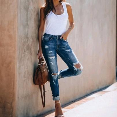 Retro High-waisted Stretch-holes  Slim Jeans  NSJY64558