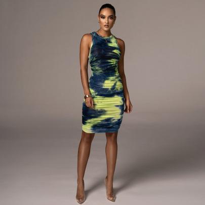 Sexy Sleeveless Round Neck Printing Mid-length Skirt Slim Dress  NSLJ64560