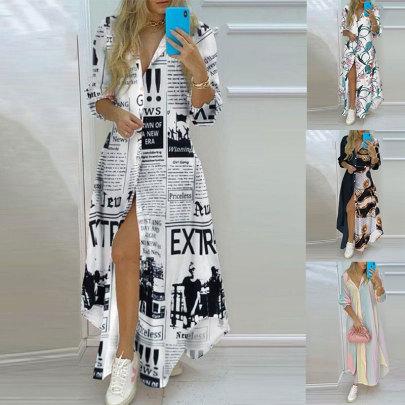 Sexy Fashion Print And Long-sleeved Dress NSJC64857