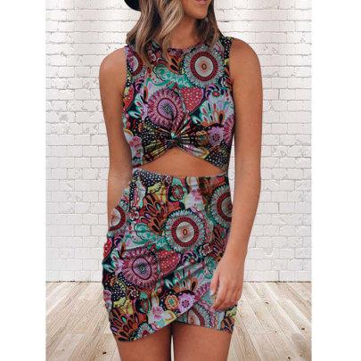 Summer New Printed Sleeveless Round Neck Tight Dress NSJIM64856