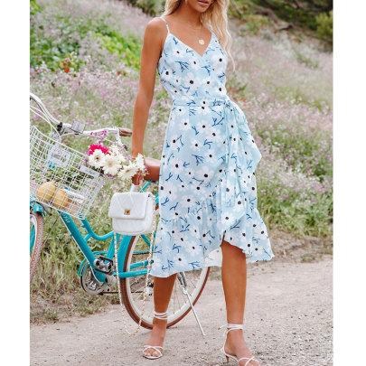 Summer New Style Printed Suspender V-neck Ruffle Dress NSJIM64855