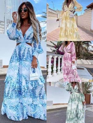 Summer New Long-sleeved Printed Hollow Long Dress NSMS64586