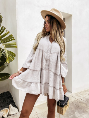 Spring And Summer Cotton V-neck Ruffled Ruffle Skirt Dress NSMS64588