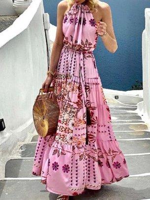 New Fashion Print Halter Sleeveless Neck Long Dress NSMS64596