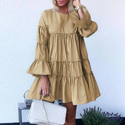 Multicolor Stitching Trumpet Sleeve Mid-length Dress NSMS64599