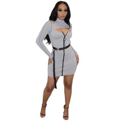 Round Neck Fashion Zipper Dress NSYC64668