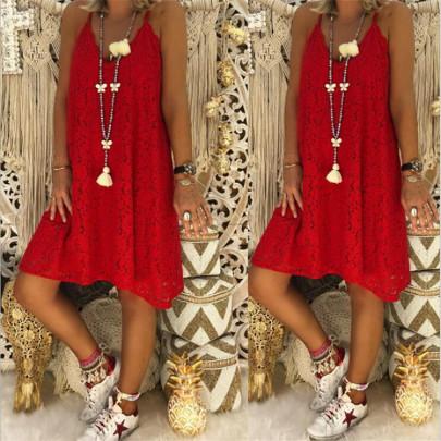Summer Solid Color Sleeveless V-neck Sling Lace Loose Dress NSYF64684
