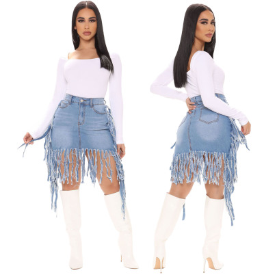 Sexy Washed Fringed High Waist Denim Skirt NSSF64733