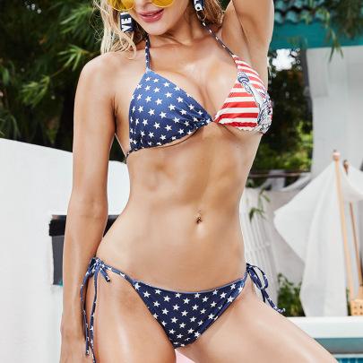 Sexy American Flag Bikini Swimsuit Set NSML64782