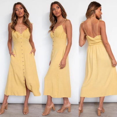 Spring And Summer New Fashion Sexy Halter Solid Color Sleeveless Suspender Dress NSSUO64837