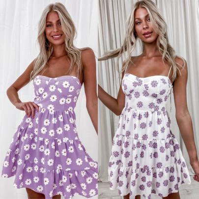 Summer New Temperament Sexy Low-cut Sling Cross Strap Print Dress NSSUO64798