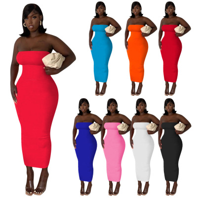 Solid Color Tube Top Dress NSNK64926