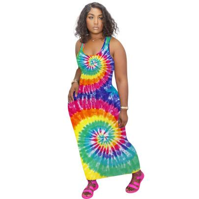 Fashion Tie-dye Printing Sleeveless Dress NSNK64941