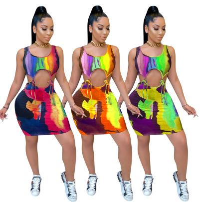 Sexy Tie-dye Batch Printing Tie Dress NSNK64945
