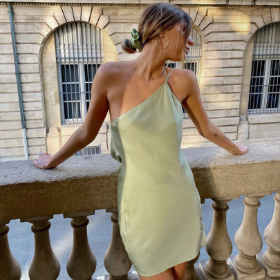Summer New Style Solid Color One-piece Halter Back Sexy Dress NSHLJ64957