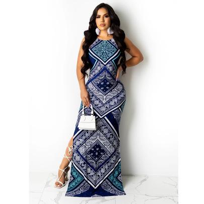 Sexy Open Back Split Elegant Ethnic Style Dress NSCN64983
