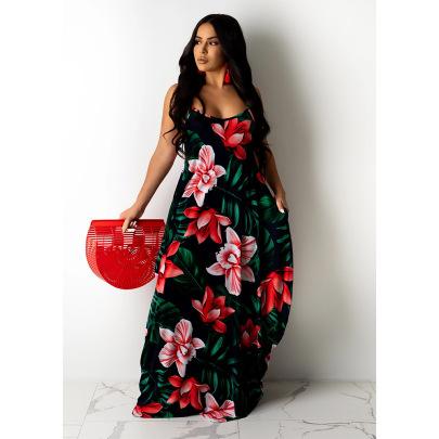 Tie-dye Printing Loose Strap Dress Long Skirt NSCN64986