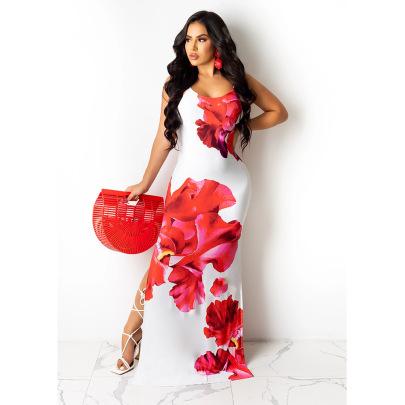 Sexy Print Halter Split Elegant Flower Long Dress  NSCN64998