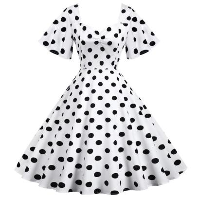 Spot Retro Waist Thin And Big Swing Dress NSYIC65004