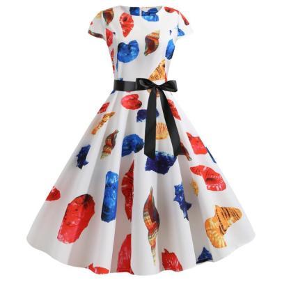 Spot New Retro Print Short-sleeved Hepburn Style Lace Up Dress NSYIC65005