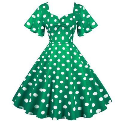 Spot Green Retro Waist Thin And Big Swing Dress NSYIC65006
