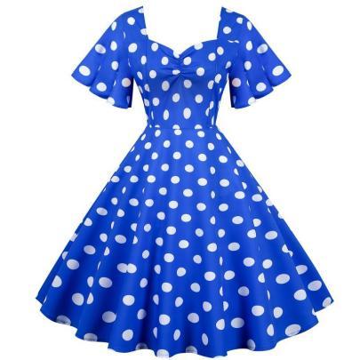 Spot Retro Waist Fashion Thin And Big Swing Dress NSYIC65007
