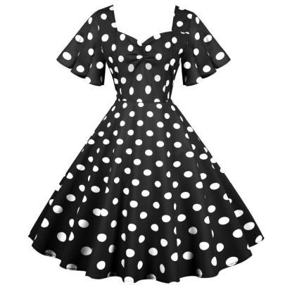 Spot Retro Waist Thin And Big Swing Dress NSYIC65008