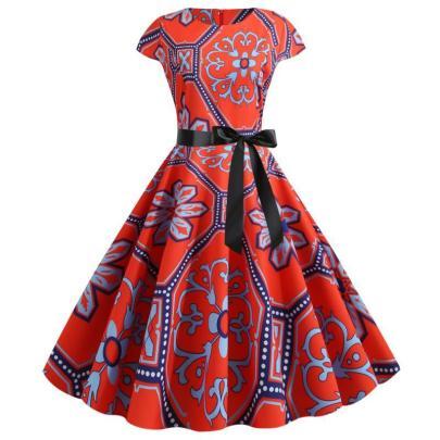 Spot New Retro Print Short-sleeved Lace Up Dress NSYIC65009