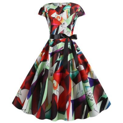 Spot New Retro Print Short-sleeved Lace Up Dress NSYIC65010
