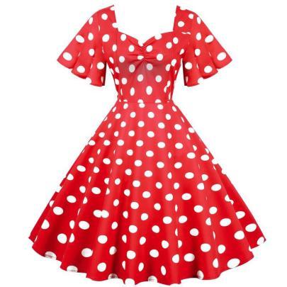 Spot Retro Waist Thin And Big Swing Dress NSYIC65013