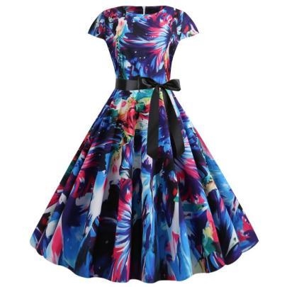 Spot New Retro Print Short-sleeved Lace Up Dress NSYIC65015