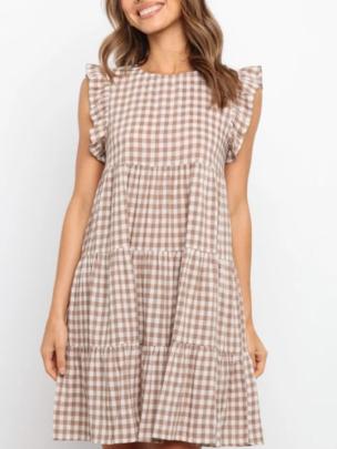 Plaid Sleeveless Round Neck A-line Skirt NSOUY65216