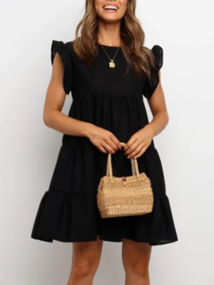 New Ruffled Solid Color Round Neck Short Skirt NSOUY65215