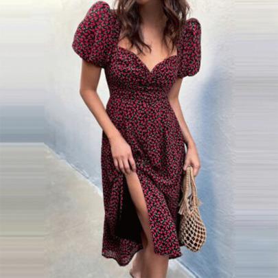 New Printed Short-sleeved Split Dress  NSYIS65204