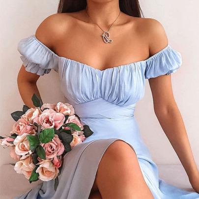 New Solid Color Short-sleeved Split Dress NSYIS65203