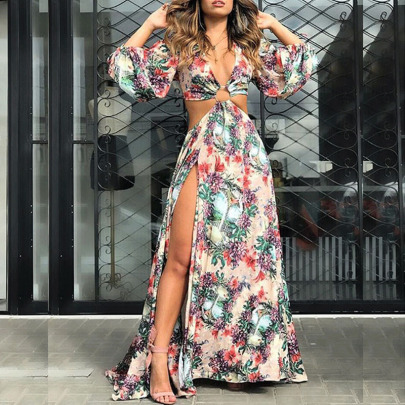 New Printed Lace-up Hollow Long-sleeved Large Swing Dress NSYIS65202
