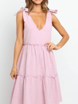 Summer New Solid Color Butterfly Bow Tie Mid-length Dress NSOUY65186