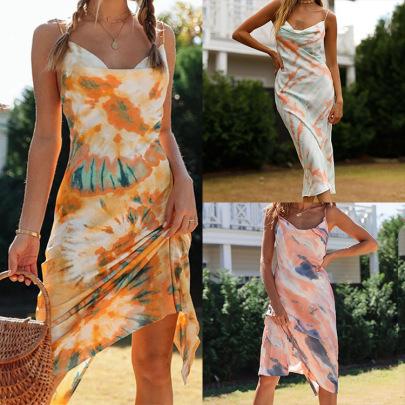 New Sexy Print Suspender Halter Pile Neck Sleeveless Dress NSSUO65182