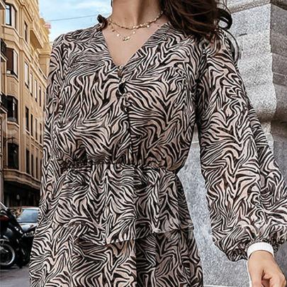 New Striped Long-sleeved V-neck Dress  NSYIS65179