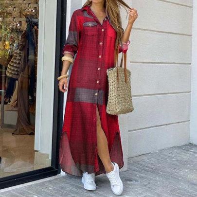 Fashion Long Sleeve Long Shirt Dress NSJC65178
