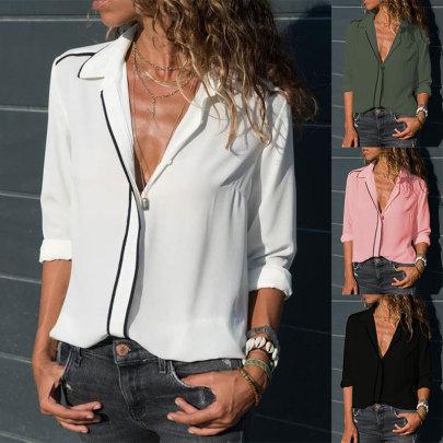 Lapel Long-sleeved Slim-fit Chiffon Shirt NSJC65177