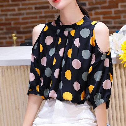 Summer New Style Loose Point Off-shoulder Chiffon Shirt NSJIM65176