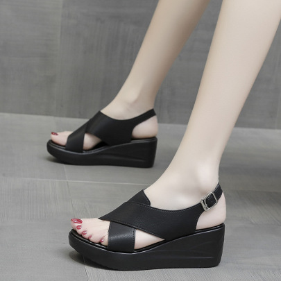 Thick-soled Belt Cross Sandals NSZSC60418