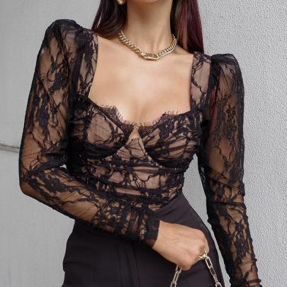 Lace Long-sleeved Spring Fashion Sexy Black V-neck Shirt NSYLF65067