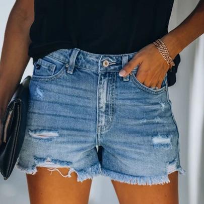 Four-color Hole High-waist Denim Shorts NSYB65088