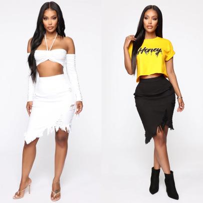 Fashion Celebrity Hole Denim Skirt  NSYB65119