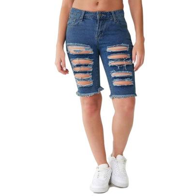 Sexy Ripped Tassel Hip-up Denim Shorts NSYB65120